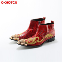 Fashion Genuine Leather Winter Shoes Men Luxury Handmade Embroider Dragon Men Boots Side Zip Pointed Toe Square Heel Ankle Boots