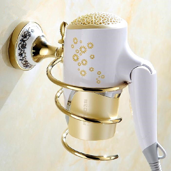 Golden Wall-mounted Hair Dryer Rack Bathroom Accessories Storage Shelf Retro Printing Hair Dryer Holder Free Shipping YB-C93
