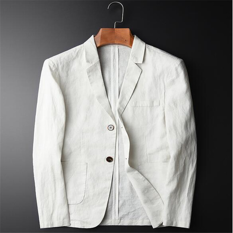White Linen Casual Blazer Men Fashion Plus Size Business Slim Fit Brand Suits Coat Single Breasted Solid Jacket For Male A3645