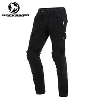 Man Slim Fit Motorcycle Jeans Knee Protective Moto Jeans Motorbike Racing Pants Women trousers have CE protectors Black