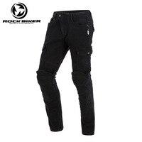Man Slim Fit Motorcycle Jeans Knee Protective Moto Jeans Motorbike Racing Pants Women trousers have CE protectors Black