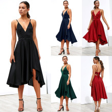 Party Dress Deep V Neck Spaghetti Strap Sleeveless Maxi Dress Asymmetrical Crisscross Backless High Low Cami bandage Dress недорого
