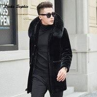 1 шт. Для мужчин плюс размер куртки пальто 2018 Зимняя мода овечьей кашемир лиса волосы воротник с капюшоном Для мужчин Skinny теплые куртки пальт