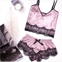 2 piece set womens Sexy Satin Sling Sleepwear Lingerie Lace Bowknot Nightdress Underwear female summer suit(China)