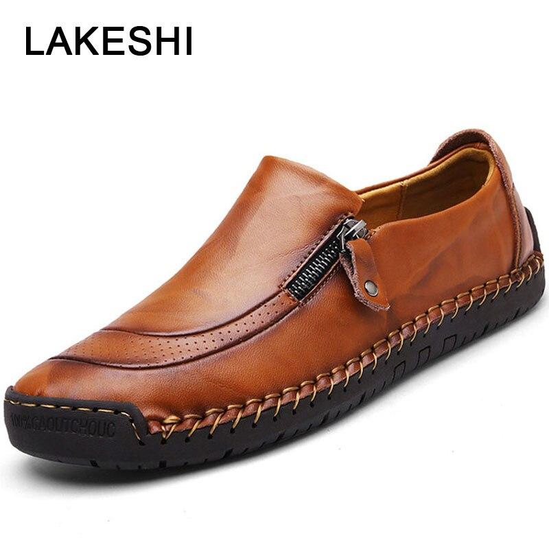Homens Sapatos Casuais Moda Mocassins Homens de Alta Qualidade Sapatos de Couro Homens Sapatos Oxford de Couro Genuíno Mocassins Sapatos Plus Size 48