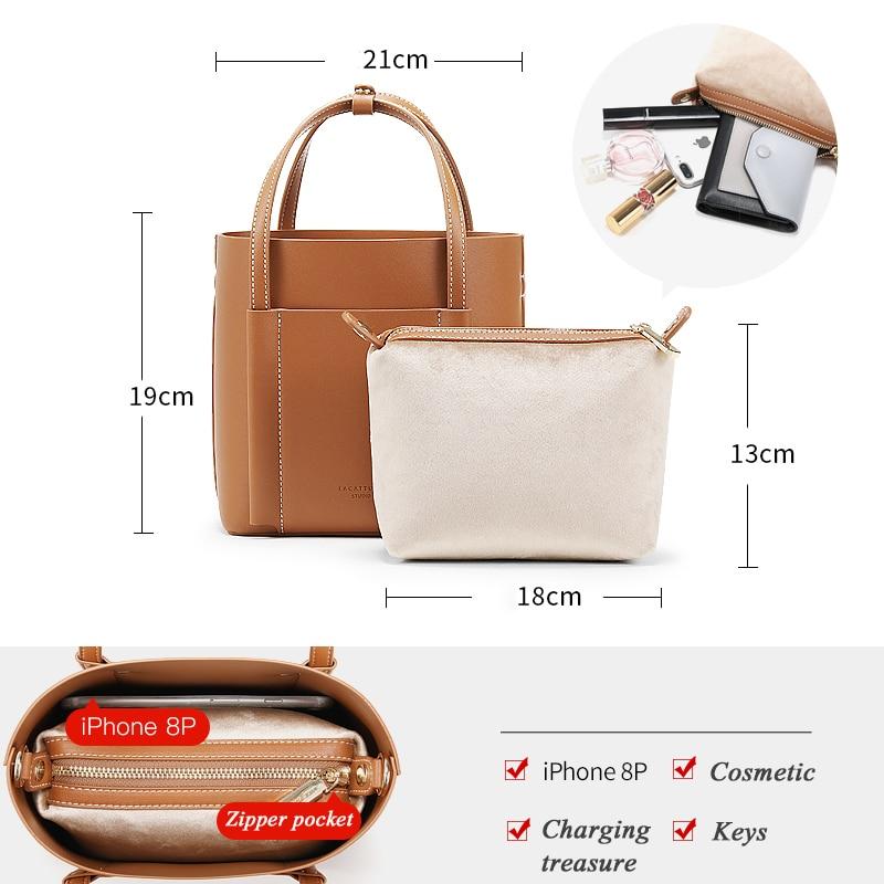LACATTURA femmes épaule seau sacs concepteur femmes Composite sac à main petit luxe fourre-tout sac bandoulière pour dame mode sac à main - 5