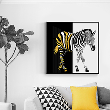 Black And Gold Zebra Canvas Painting Fashion Poster Print Animal Wall Art Pictures For Living Room Aisle Nordic Style Home Decor