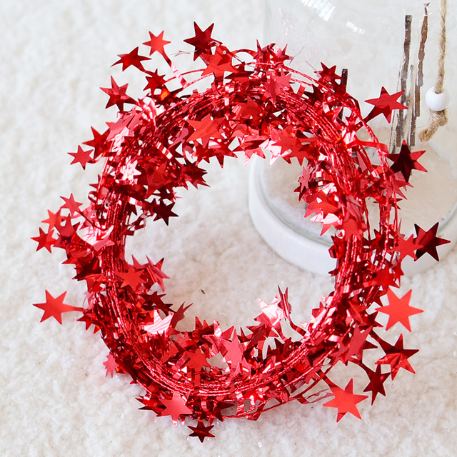 7 5m Christmas Decorations For Home Red Gold Silver Star Foil Festive Ornaments Garland Tree