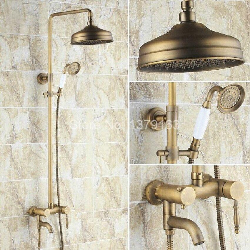 Antique Brass Single Handle Bathroom Rain Shower Faucet Set Tub Mixer Tap + 8 Round Rainfall Shower Head + Handshower ars154