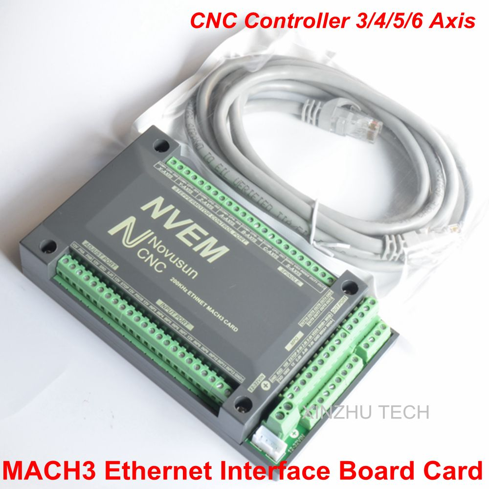Orignal MACH3 Ethernet Card NVEM V2 CNC Controller 3/4/5/6Axis MACH3 Ethernet Interface Board Card 200KHz For Motion Controller freeshipping 0 to 10 vpwm spindle speed controller mach3 interface board