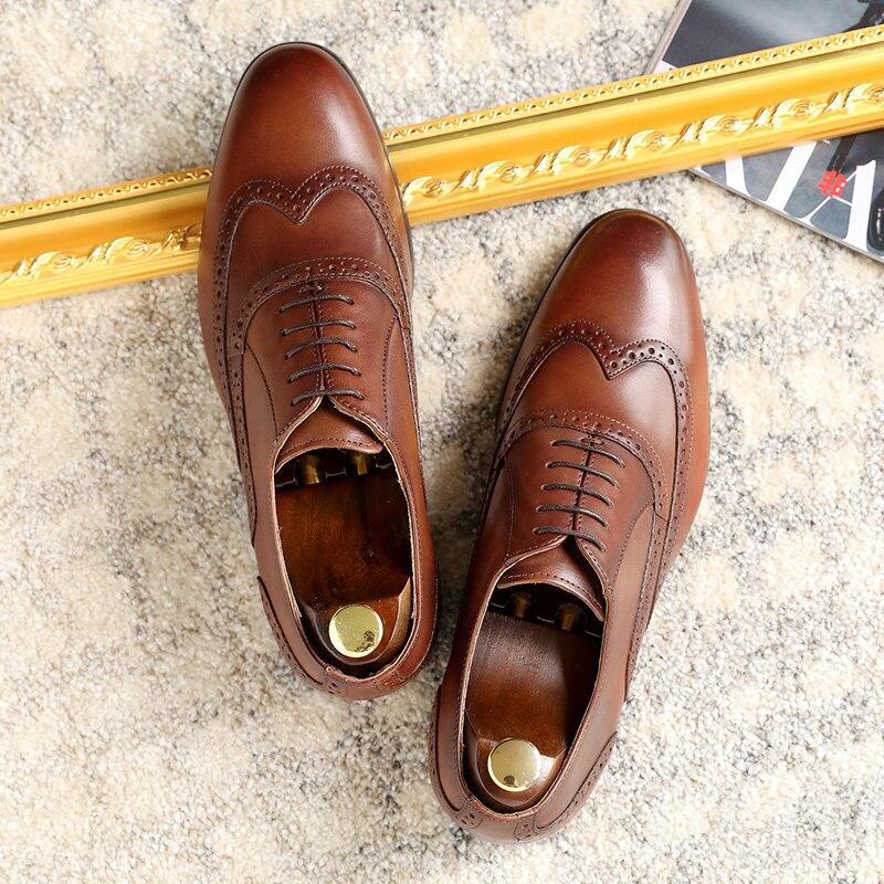 DESAI Brand Full Grain Genuine Leather Men Oxford Bullock Formal Men 39 S Dress Shoes Size 38-47