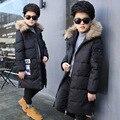 4-13Year longos Casacos para o Menino Crianças Casacos de Inverno Para Baixo Casaco De Pele Morno Grosso Crianças Snowsuit Algodão Down Jacket Outwear Quente