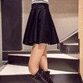 Легко словосочетание юбка модели конфеты цвета высокой талией плиссировка и новый западная вс юбки большие качели юбки с высокой талией женщин