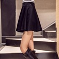 Fácil colocación modelos de faldas de cintura alta de color caramelo plisado y nuevo western sun faldas swing grande de talle alto faldas para mujer