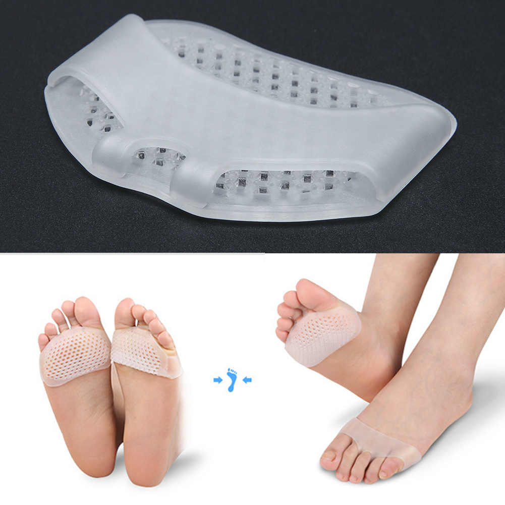 MOONBIFFY 1Pair Silicone Heel Pads Soft Forefoot Half Yard Pads Invisible High Heel Shoes Slip Resistant Pads Pain Relief
