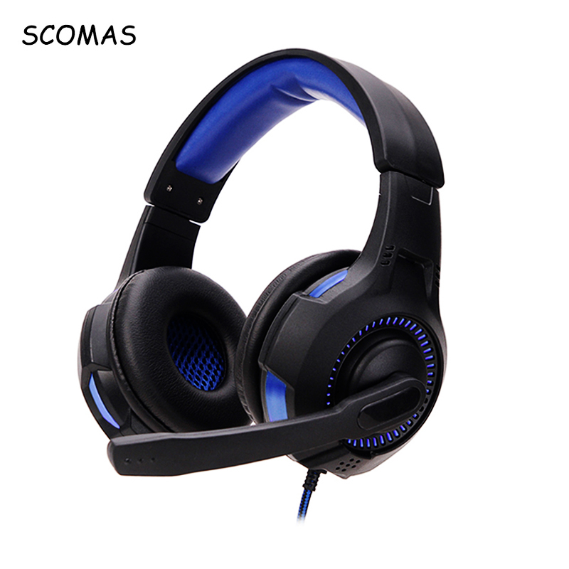 SCOMAS USB Luminous Headphones Stereo Sound 3.5mm Wired Over-Ear PC Gaming Headset with Mic HEADPHONE for PS4 Gamer Computer teamyo pc780 glowing gaming headset wired headband headphones with mic over ear stereo auriculares for laptop computer gamer