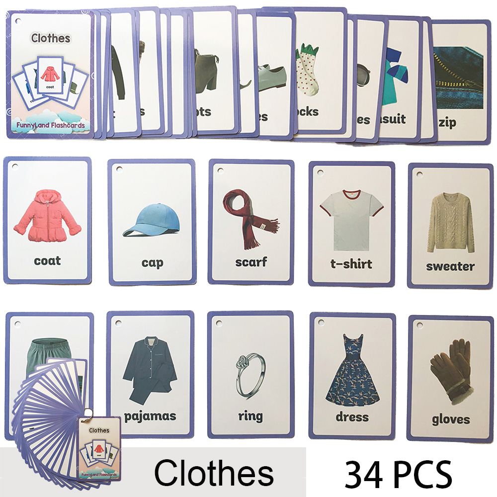 34Pcs/Set Clothes Kids English Learning Word Card Pocket Card Montessori Early Educational Toys For Children Flash Card Gifts34Pcs/Set Clothes Kids English Learning Word Card Pocket Card Montessori Early Educational Toys For Children Flash Card Gifts