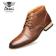DESAI 2019 New Arrival Winter Warm Boots High Shoes Mens Genuine Leather Casual for Male Size 39-47