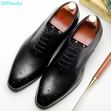 QYFCIOUFU New Arrival British Style Square Toe Men Genuine Leather Shoes Lace-up Mens Dress Handmade Business Formal