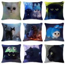 European pillow sofa cushion 3d cat animal print pillowcase pillowcase home hotel cafe decoration cat print pillowcase cover