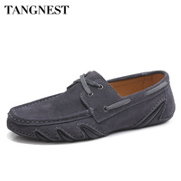 Tangnest Men Spring Cow Suede Loafers British Style Fashion Outopus Insoles Slip On Flat Shoes Lazy Man Driving Shoes XMR2841