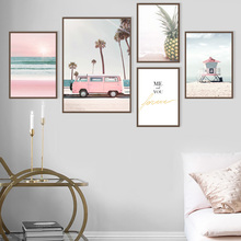 Summer Beach Bus Coconut Tree Wall Art Canvas Painting Nordic Seascape Posters And Prints Wall Pictures For Living Room Decor цена и фото