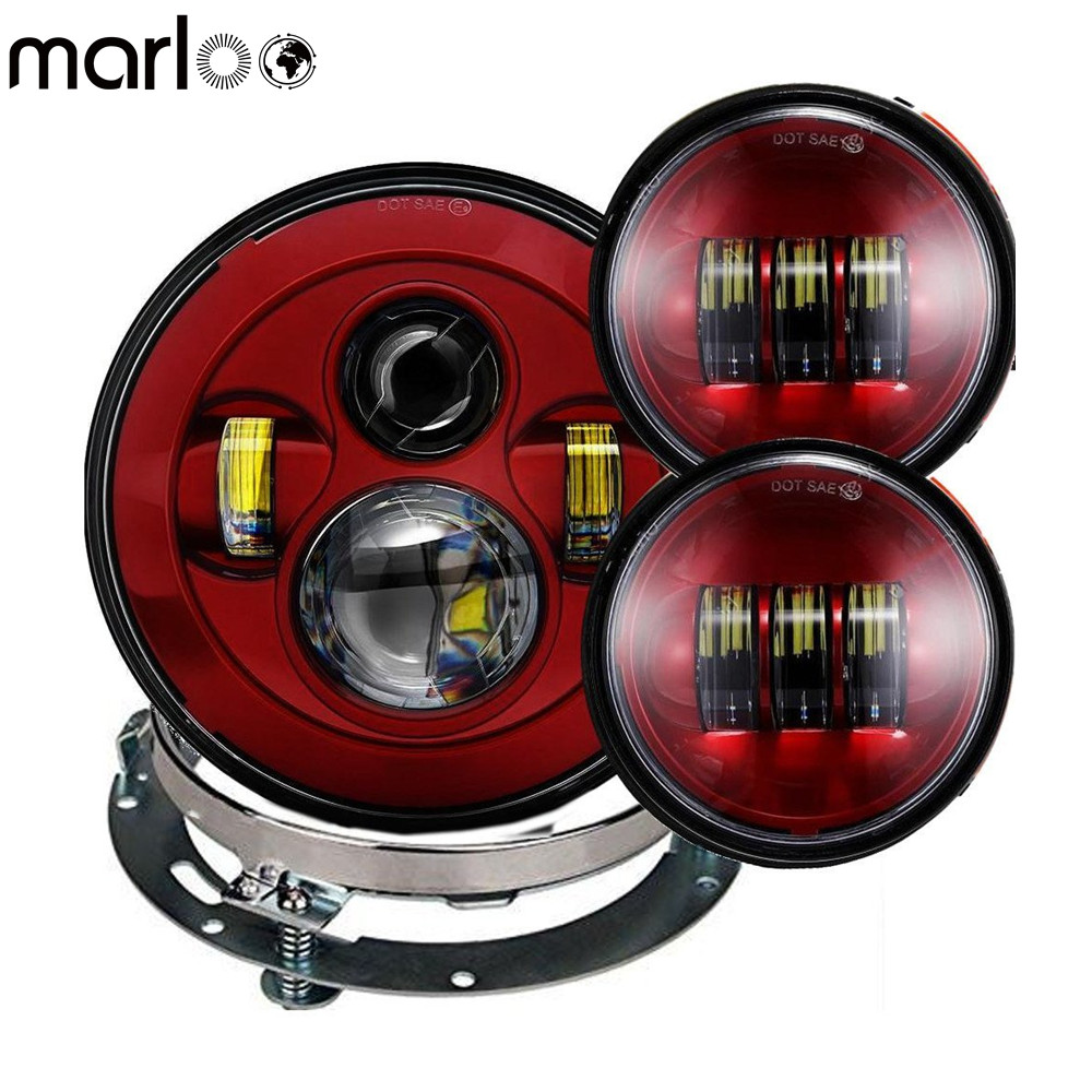 все цены на Marloo Red Harley 7 Inch Round LED Headlight with 4.5