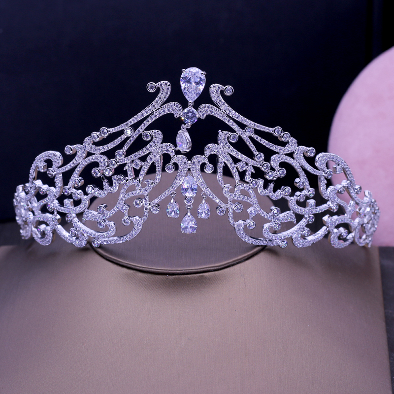 Beauté Pleine Zircone Cubique Diadèmes Couronnes Princesse Reine Pageant Femmes Accessoires De Mariage Bijoux De Mode Cadeaux H-030