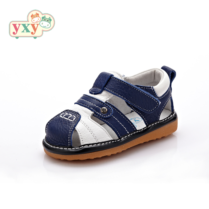 YXY 2017 summer squeaky natural leather baby boys girls children anti-slip outsole hook&loop durable sandals kids casual shoes