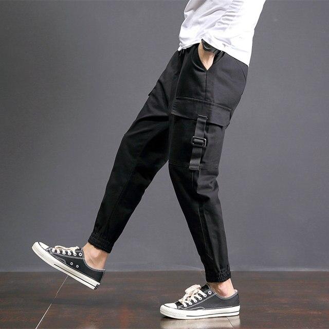 2018 Spring Harem Pants Men Multi Pocket Hip Hop Mens Joggers Plus Size Casual Cargo Pants Loose Men's Trousers 5XL-M Black Sale