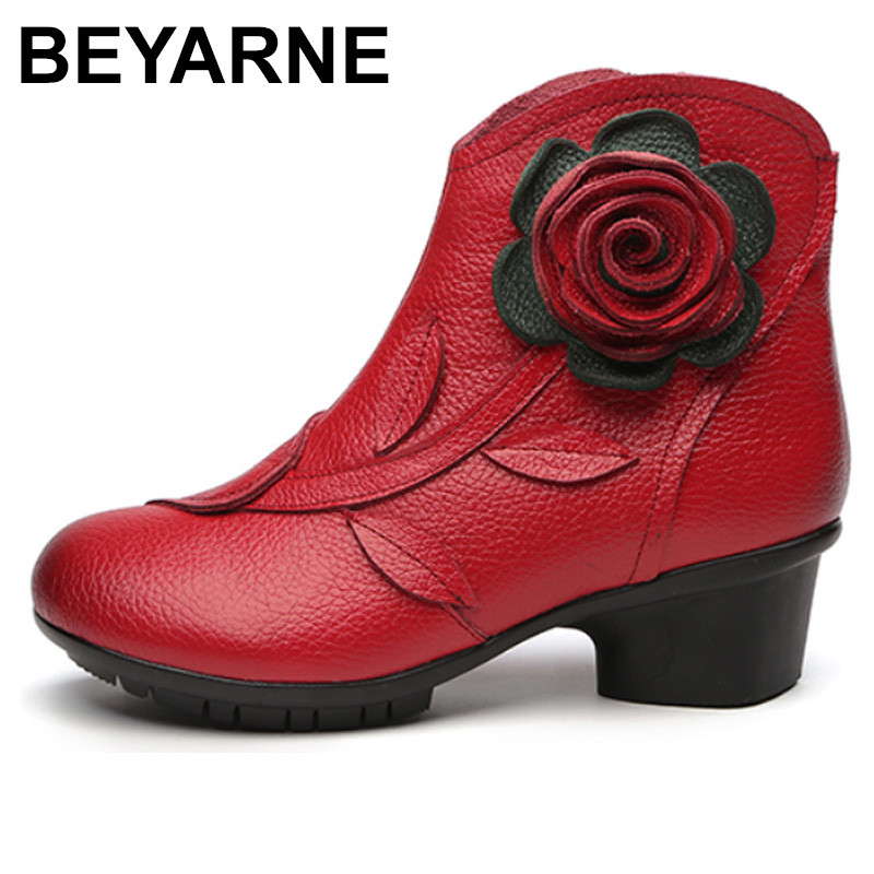 BEYARNE New Folk Style Floral Female Shoes Winter Comfortable Genuine Leather Ankle Boots for Women All Match Retro Boots Lady irst layer of cowhide handsome female ankle boots fashion boots pull style all match elegant 6 8 5