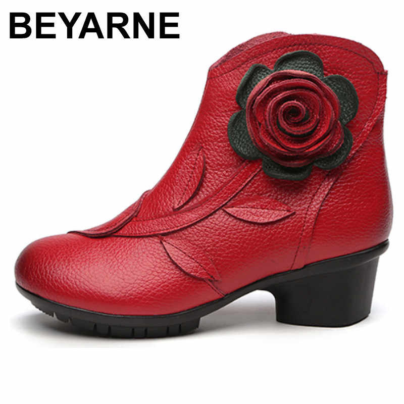 BEYARNE nouveau Style Folk Floral femme chaussures hiver confortable en cuir véritable bottines pour femmes tout Match rétro bottes dame