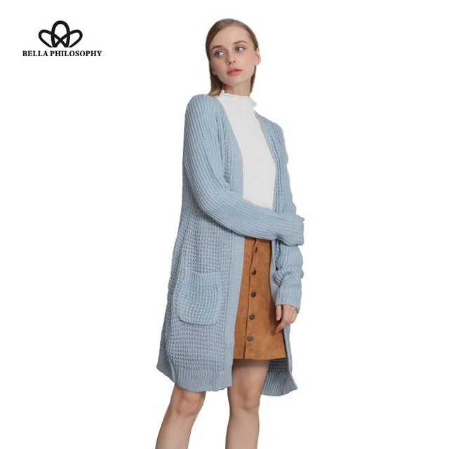 Bella Philosophy autumn winter new black grey dark blue light blue double pockets long causal long sleeve sweater cardigan