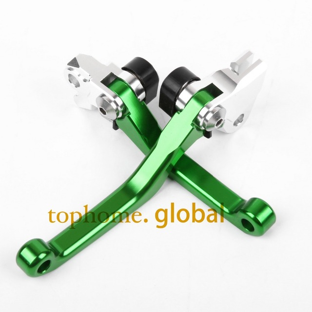 Hot One Pair CNC Pivot Dirttbike Brake Clutch Levers Green Color For Kawasaki KX250F 2005 2006 2007 2008 2009 2010 2011 2012
