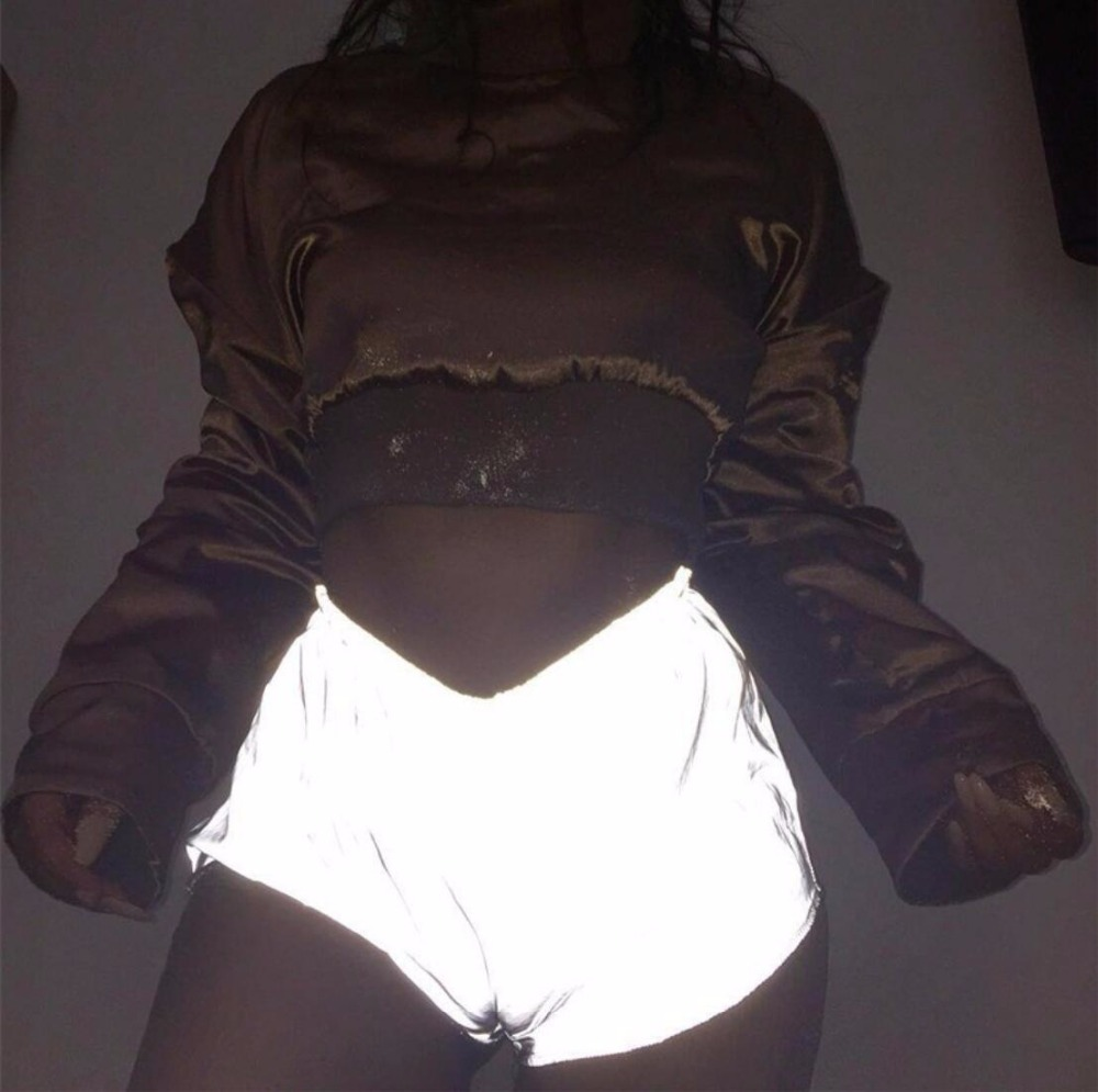 Hip hop   short   women Night shine 3M cargo satin   shorts   summer high waist trousers capri Loose   shorts   women club wear