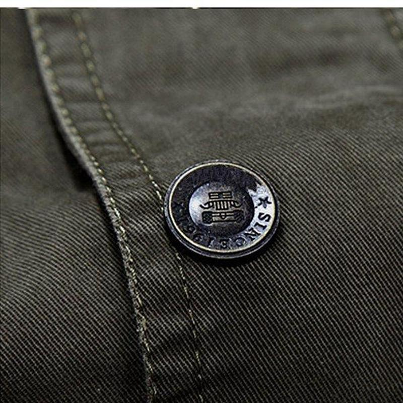 Hot Mens jacket jean military army soldier cotton Autumn Mens jackets Multi Pocket Zipper Button Cotton Outwear Jacket for Mens