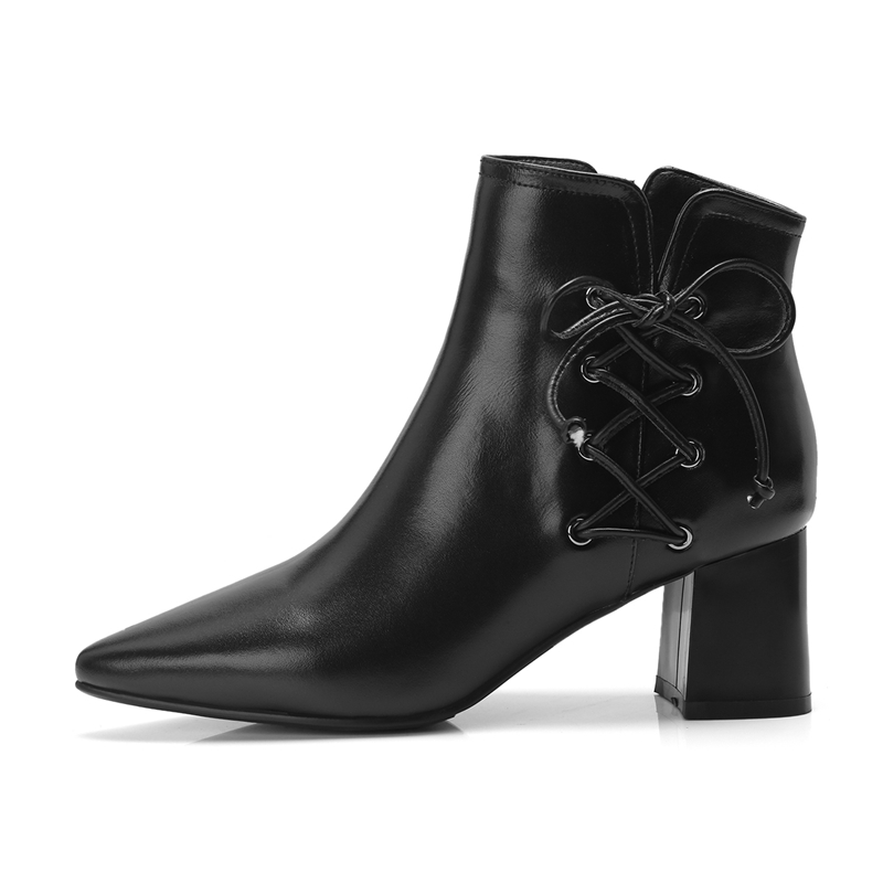 Con De Invierno Cuero Moda Cr1577 E Punta Bolso Enmayer Cremallera Tacones Zapatos Mujeres Otoño Las Botas Genuino Casual Black Gruesa Mujer white Tobillo q4nw8