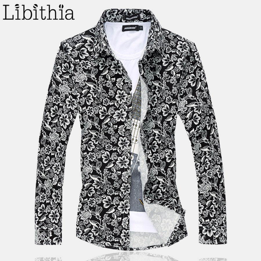 Floral pattern men casual dress shirt big size m 6xl long for Patterned dress shirts for men