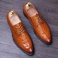 Masculino sapatos de couro Genuíno Apontou toe Derby Sapatos Casuais estilo Britânico de Moda sapatos De Casamento Rendas Até Homens Flats 022