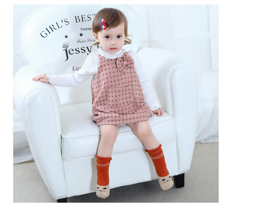 0-2Y Winter Baby Girl Boy Cotton Warm Thickness Knee Socks Children Kids Terry Loose Top Anti-slip Middle Tube Sox 3pairs/Lot 9