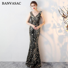 BANVASAC 2018 Sexy V Neck Sequined Embroidery Mermaid Long Evening Dresses Elegant Lace Backless Party Prom Gowns
