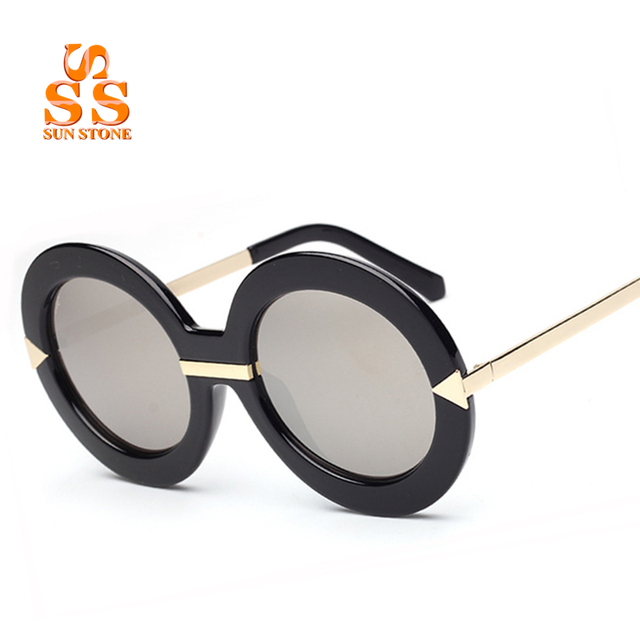 SUNSTONE Marca Designer de Moda das Mulheres óculos de Sol Requintados & Caixa de Lançamento Mais Recente High-end Partido Óculos Moldura Redonda de UV-CUT. SC58