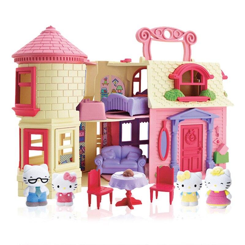 Marque jouet style européen Castal Villa pour Hello Kitty chat maison de poupée rêveuse maison de poupée meilleur cadeau et semblant jouer jouets pour fille