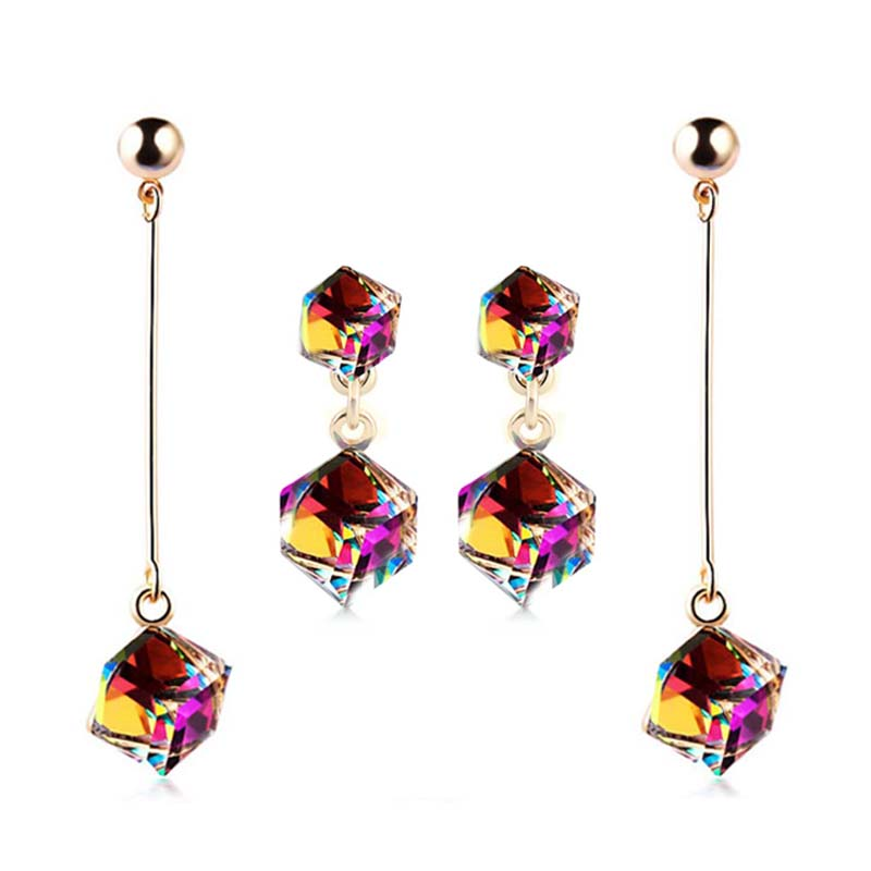 Super Fashion fine jewelry big earring 2 pairs set with stones multicolor long drop cube crystal jewelry dangle earring Brincos