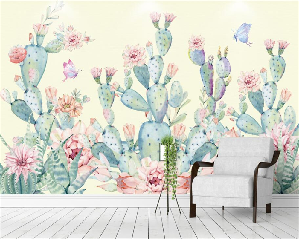 Beibehang wallpaper for walls 3 d Hand-painted cactus butterfly background wall wall paper home decor papel de parede 3d beibehang leopard pattern mural 3d wall paper wallpaper rolls for walls vintage papel de parede infantil home decorate tapete