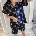 С принтом Лето 2018 г. WAVMIT короткий рукав шелковые пижамы комплект из двух предметов для женщин пижама, пикантная сорочка для спальный - фото