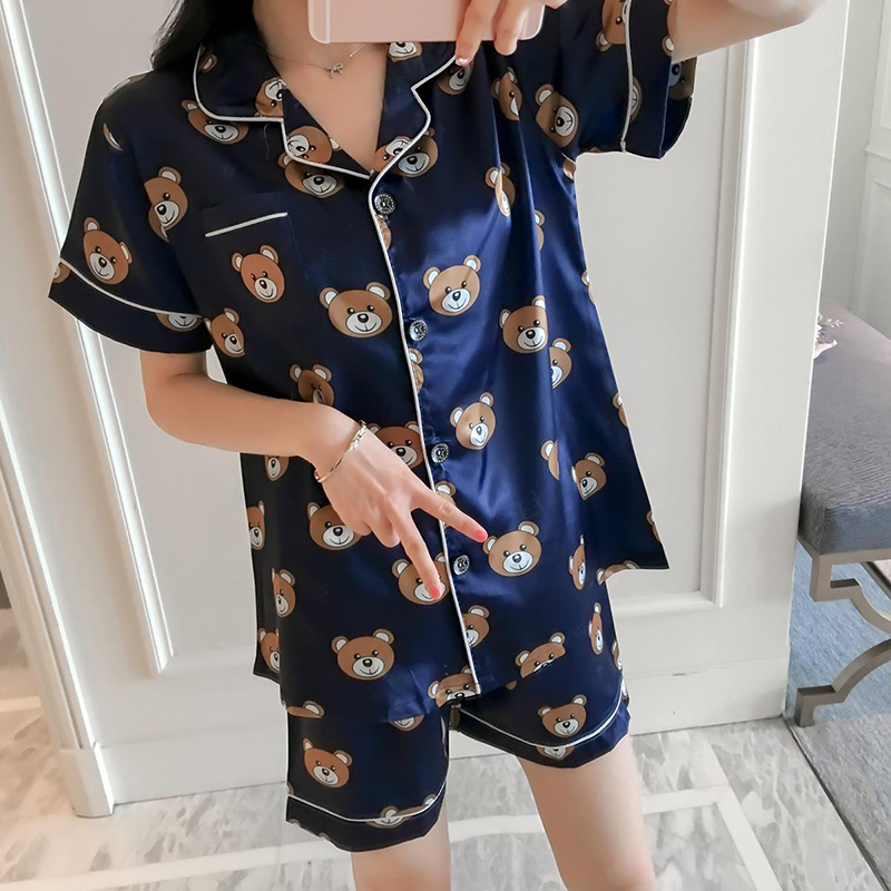 Printing 2018 Summer WAVMIT Short Sleeve Silk Pajamas Set Two Pieces Set Women Sleepwear Sexy Nightwear For Women Sleeping Set