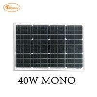 Renepv 40W mmonocrystalline silicon solar panel 12V battery power charging panel green alternative anergy RD40TU 18MD