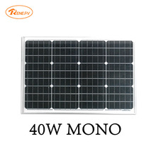 Renepv 40W mmonocrystalline silicon solar panel 12V battery power charging panel green alternative anergy RD40TU-18MD