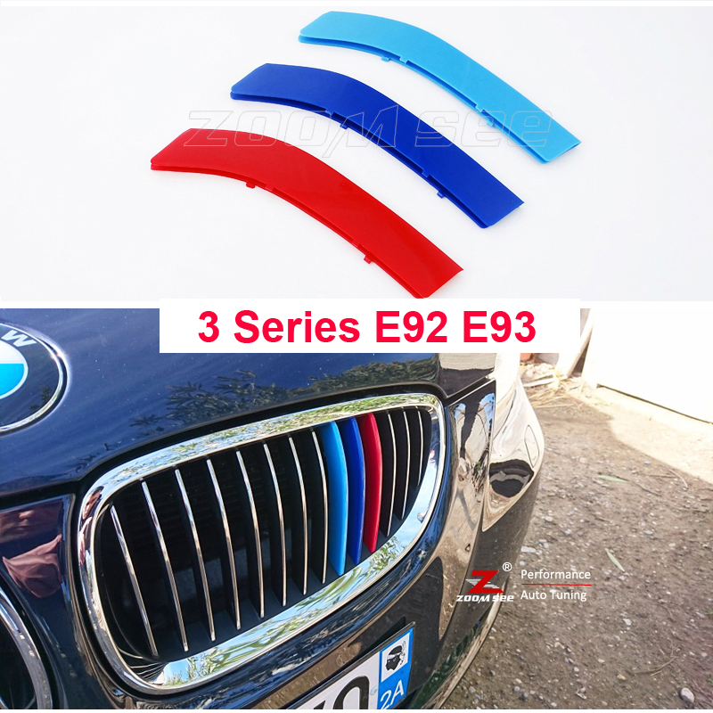 For 2006-2013 BMW 3 series E92 E93 318i 320i 325i 328i 330i 335i 320d 325d 3D M Front Grill Trim Strip grille Cover Stickers